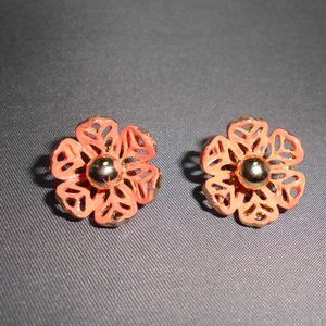 Gold Tone Coral Painted Flower Clip Earrings